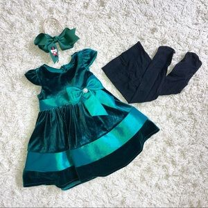 Holiday Green Velour Satin Dress & Accessories 12M